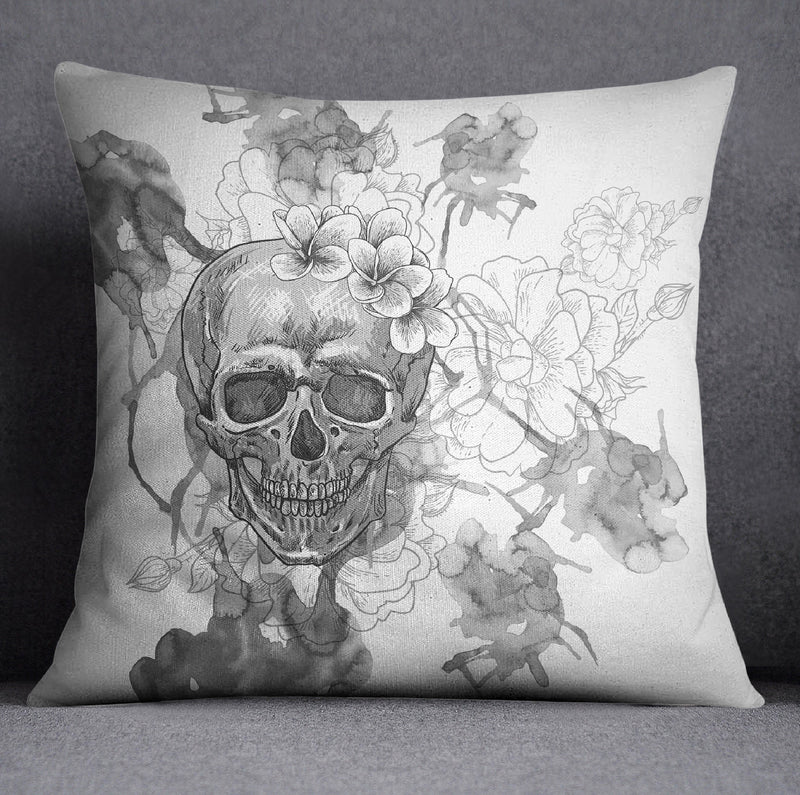 Silver Watercolor Skull Design Decorative Throw Pillow Cover