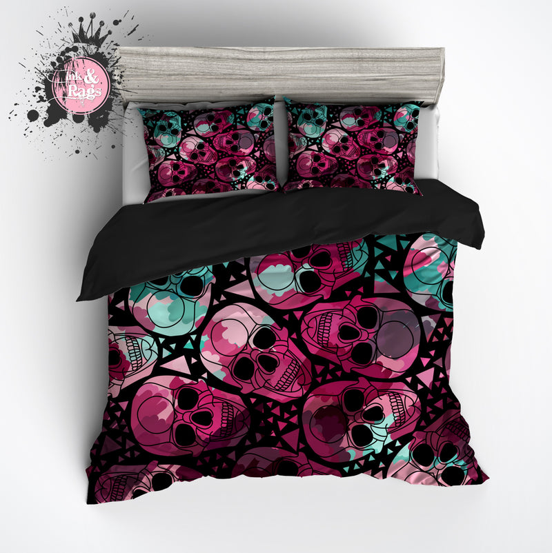 Teal and Purple Geometric Skull Bedding