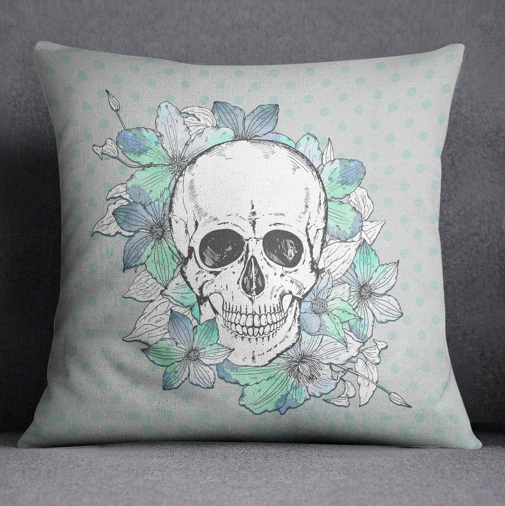 Blue Green Polka Dot Skull and Flower Throw Pillow