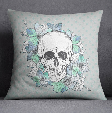 Blue Green Polka Dot Skull and Flower Decorative Throw Pillow