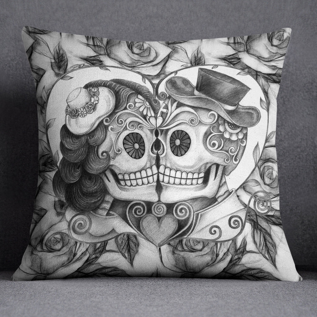 Pencil Sketch Rose Kissing Couple Sugar Skull Throw Pillow