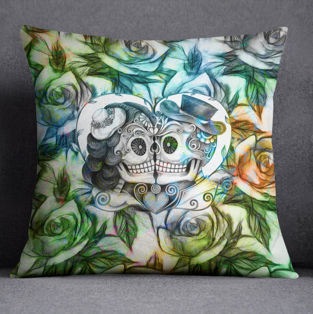 Blue Green and Gold Sugar Skull Couple Decorative Throw Pillow Cover