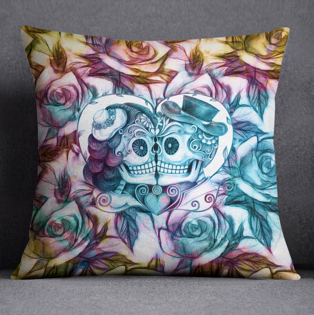 Purple Blue and Gold Sugar Skull Couple Throw Pillow
