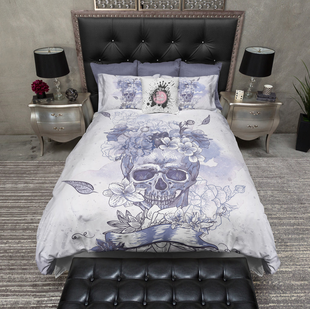 Purple and Blue Watercolor Flower Skull Duvet Bedding Sets