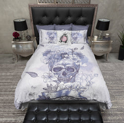 Purple and Blue Watercolor Flower Skull Bedding