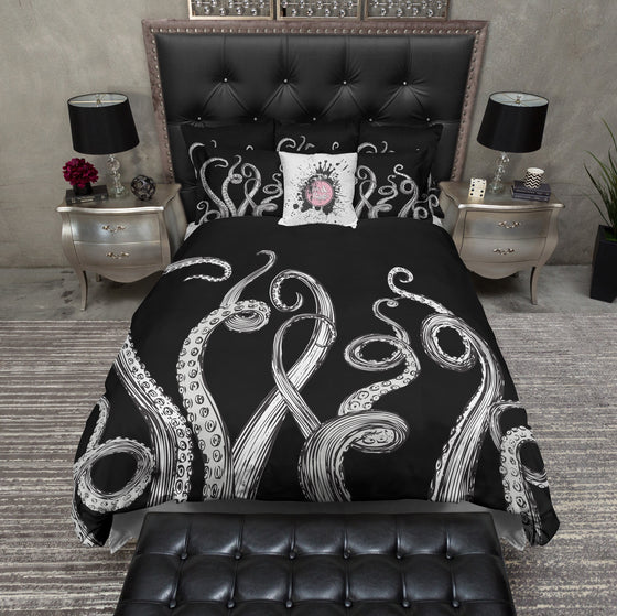 Black and White Octopus Tentacle Bedding