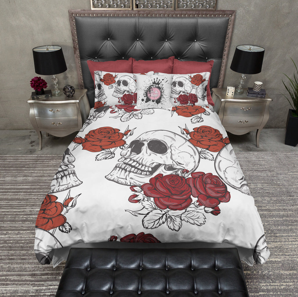 Shades of Red Rose and White Skull Bedding