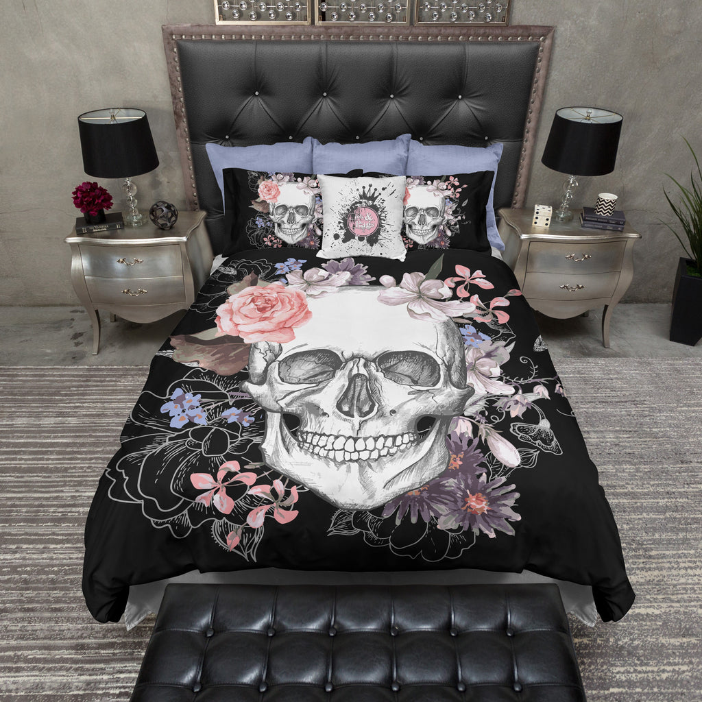 Black and Floral Skull Bedding Collection