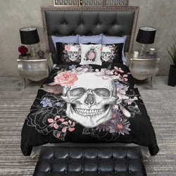 Black and Floral Skull Bedding