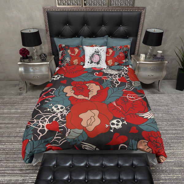 Rockabilly Tattoo Style Duvet Bedding Sets Ink And Rags