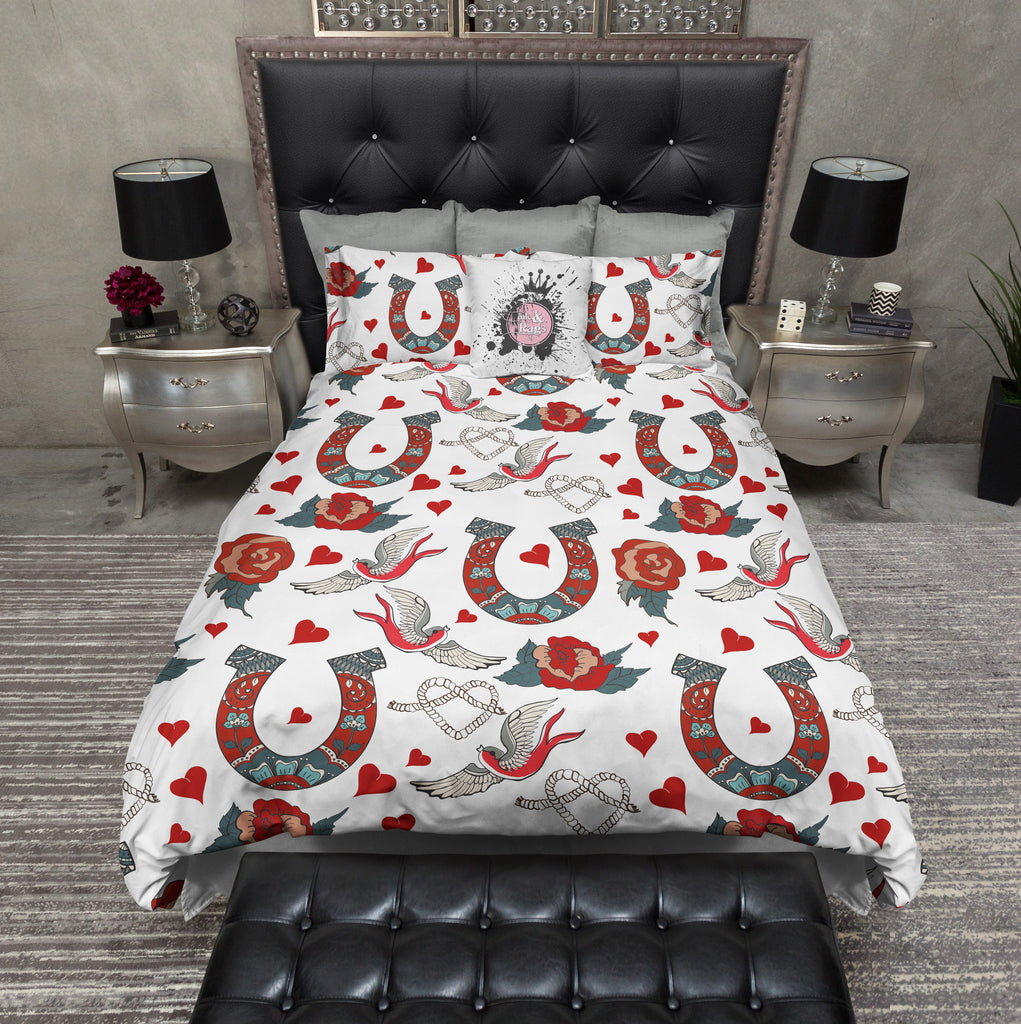 Rockabilly Tattoo Style Horse Shoe for Luck Duvet Bedding Sets