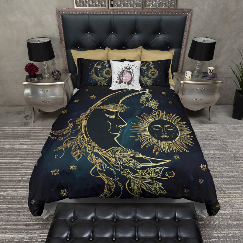 Boho Midnight Black Teal with Gold Sun Moon and Stars Bedding