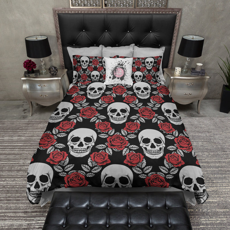 Siver and Red Rose Skull Bedding