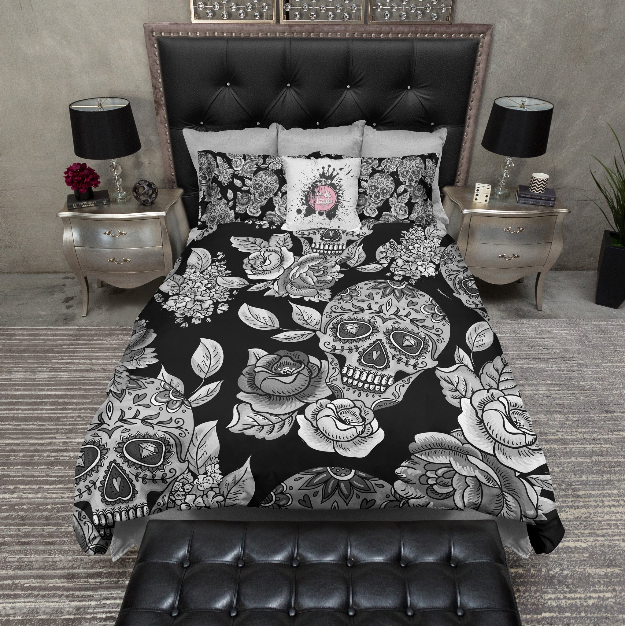 Signature Black Sugar Skull And Rose Bedding Ink And Rags