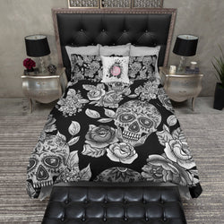 Signature Black Sugar Skull and Rose Bedding