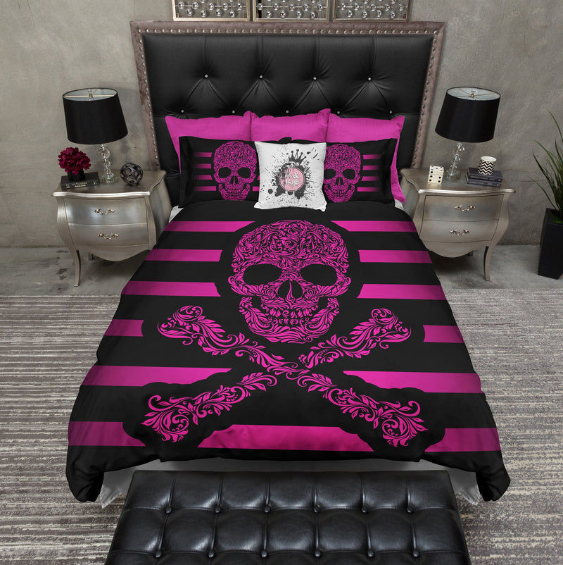 Hot Pink Striped Skull and Crossbones Bedding