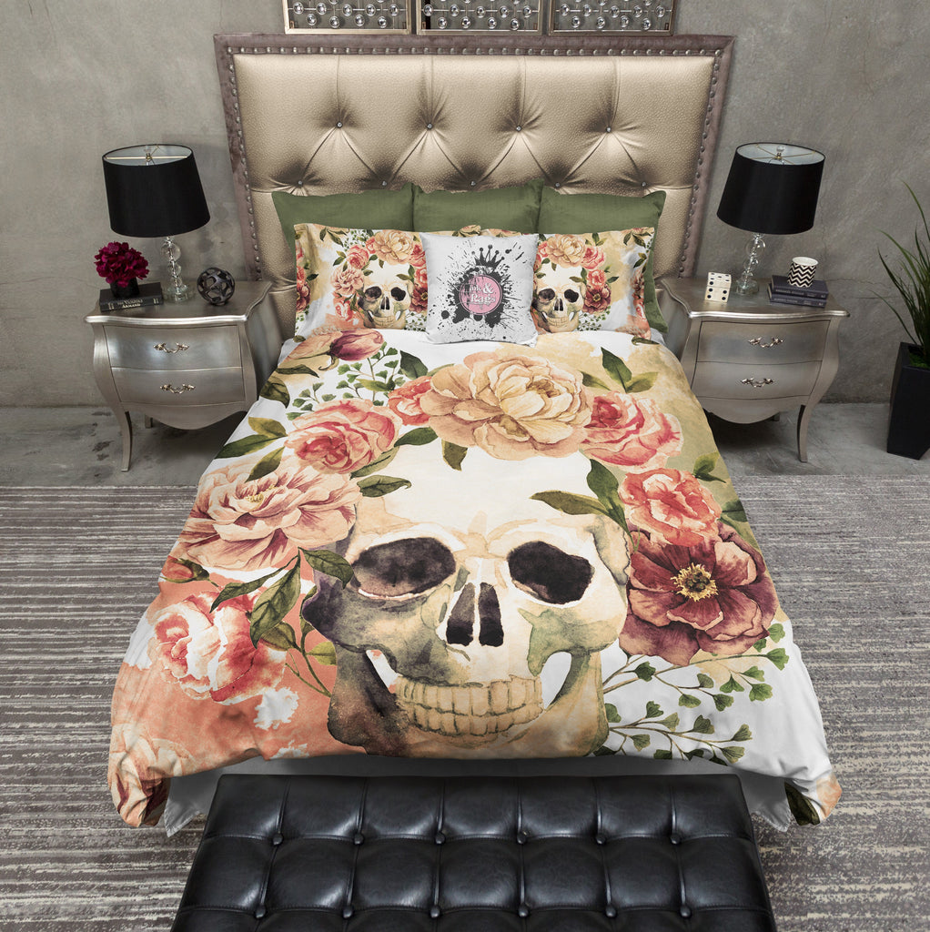 Golden Floral and Skull Duvet Bedding Sets