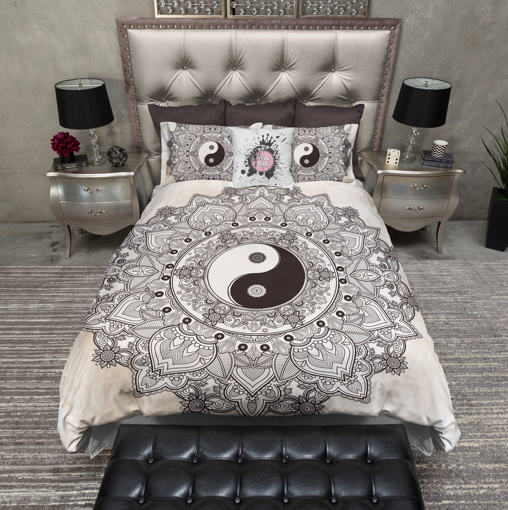 Henna Mandala Tea Stained Ying Yang Duvet Bedding Sets