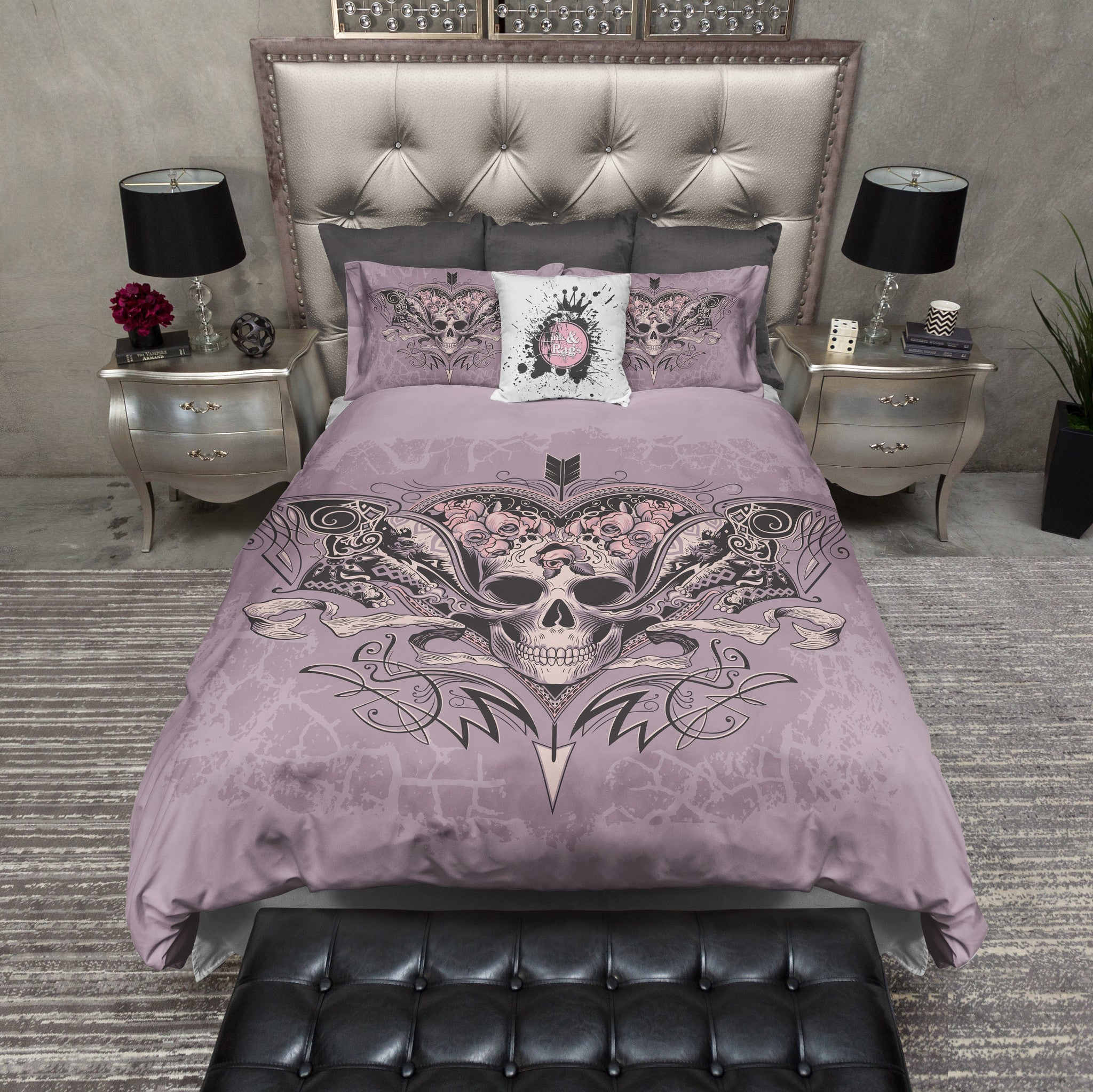 Lavender Rose Arrow Skull Duvet Bedding Sets Ink And Rags