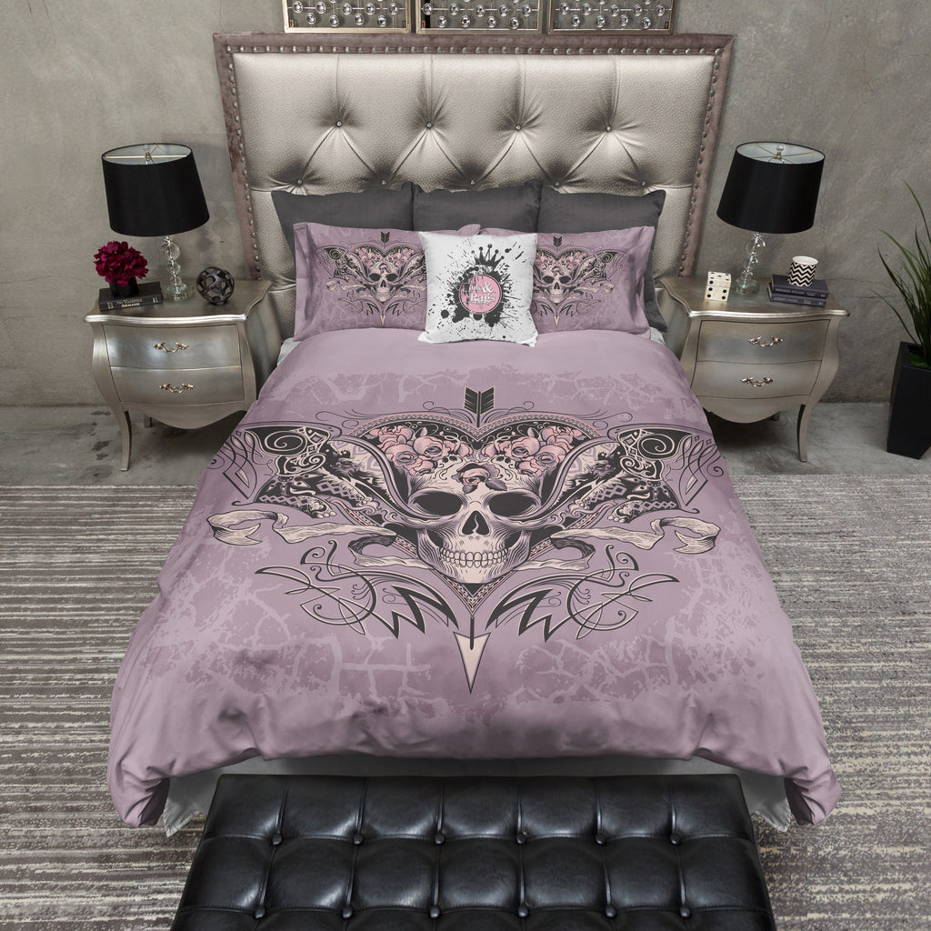 Lavender Rose Arrow Skull Bedding