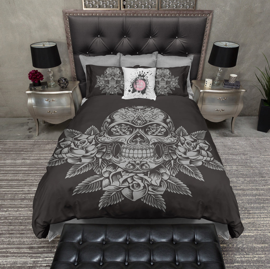 Grey Skull and Roses on Slate Duvet Bedding Sets