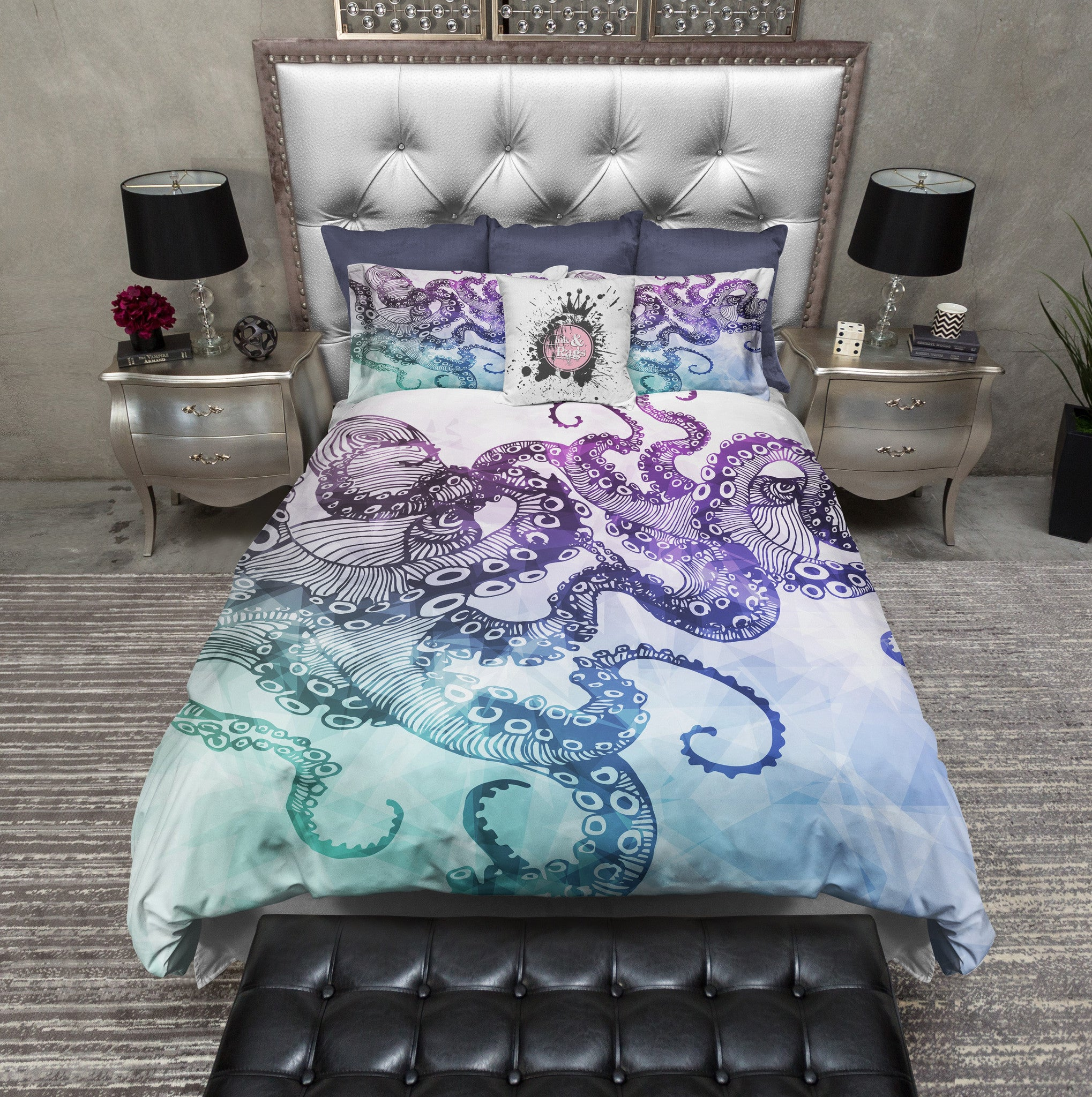 Modern Watercolor Octopus Bedding White Ink And Rags