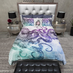 Modern Watercolor Octopus Bedding
