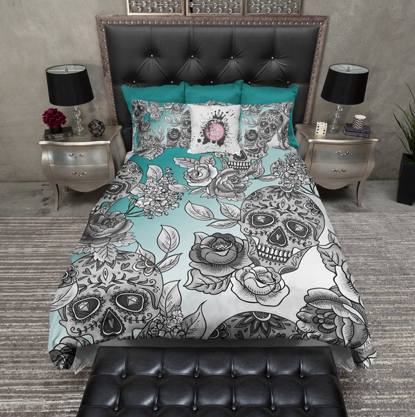 Dip Dyed Teal Ombre Sugar Skull Bedding