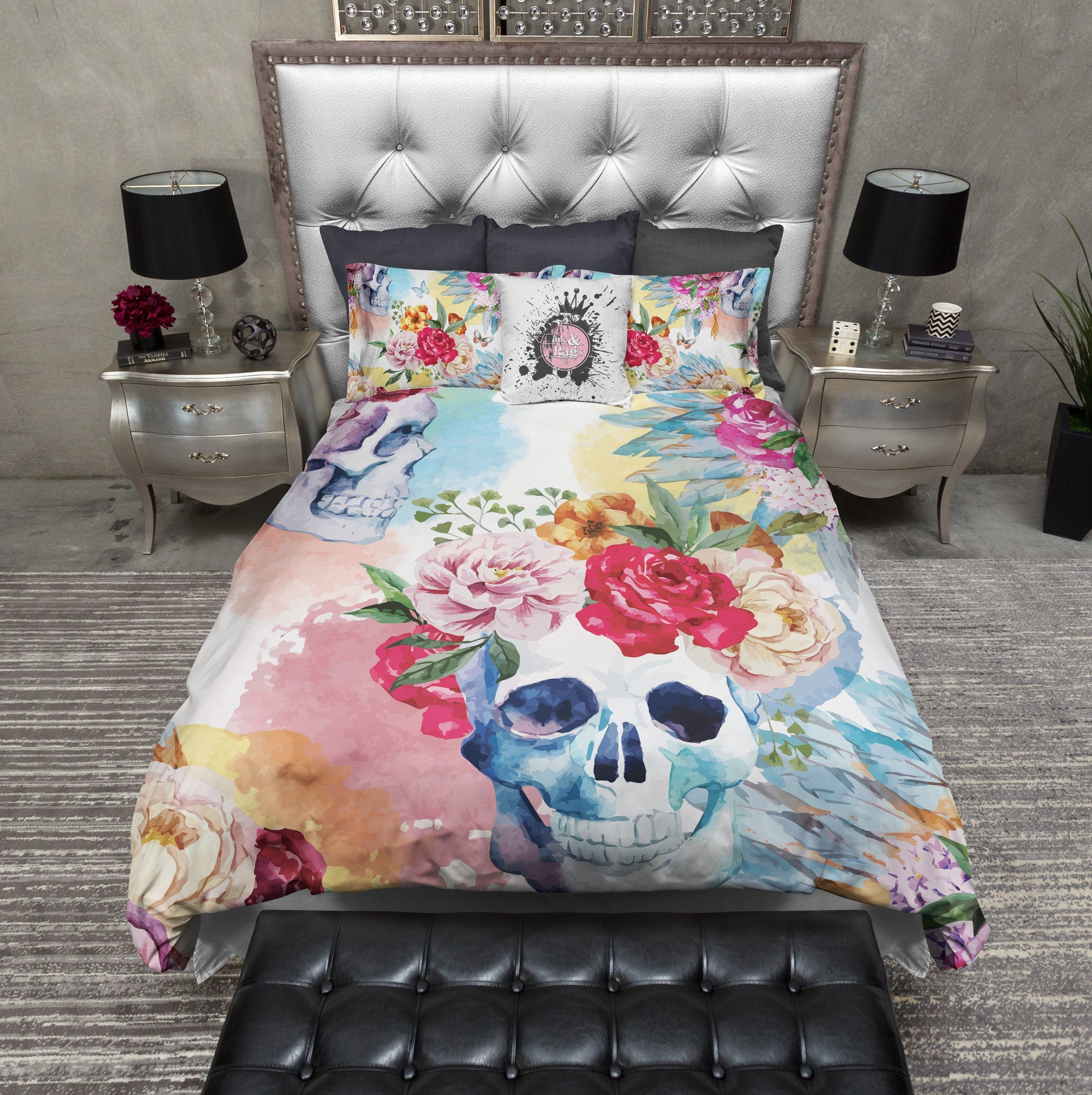 bright watercolor skull and flower indian headdress duvet bedding  -  bright watercolor skull and flower indian headdress duvet bedding sets