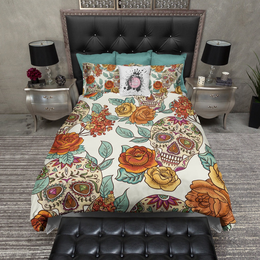 Golden Signature Sugar Skull Duvet Bedding Sets