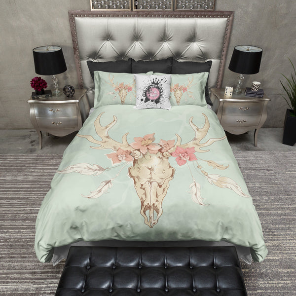 Mint Deer Skull Bedding CREAM