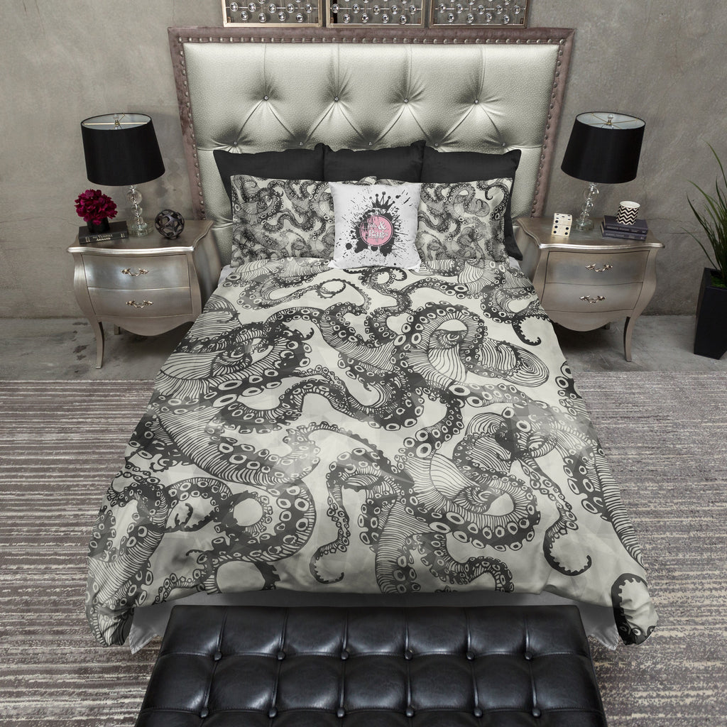 Light Black Watercolor Octopus Bedding CREAM