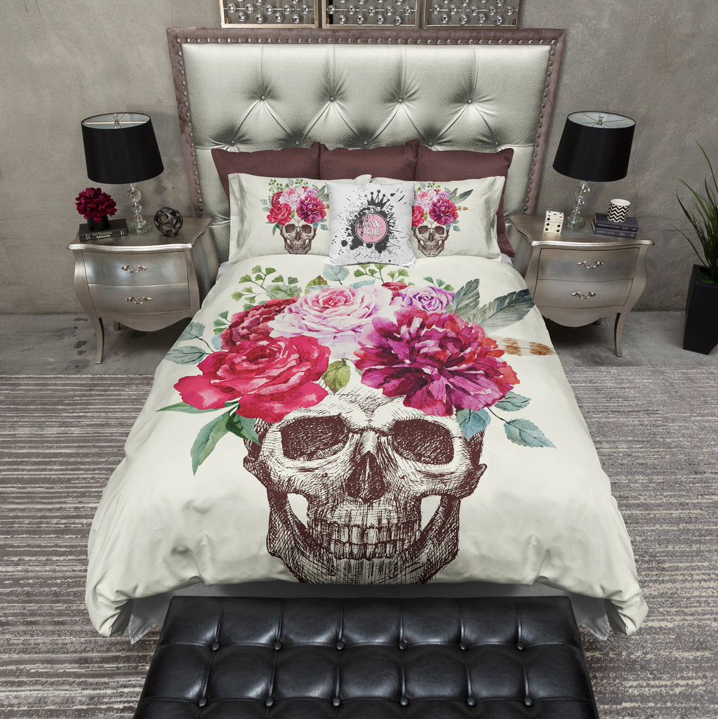 Sketch Skull Pink Floral Crown Duvet Bedding Sets