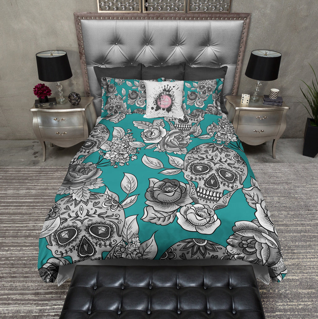 Teal Signature Sugar Skull Duvet Bedding Sets