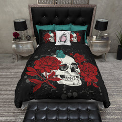 Peony and Teal Butterfly Skull Bedding CREAM
