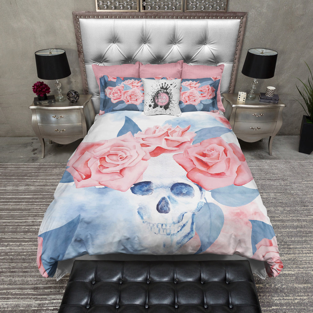 Blue and Pink Rose Watercolor Skull Duvet Bedding Sets