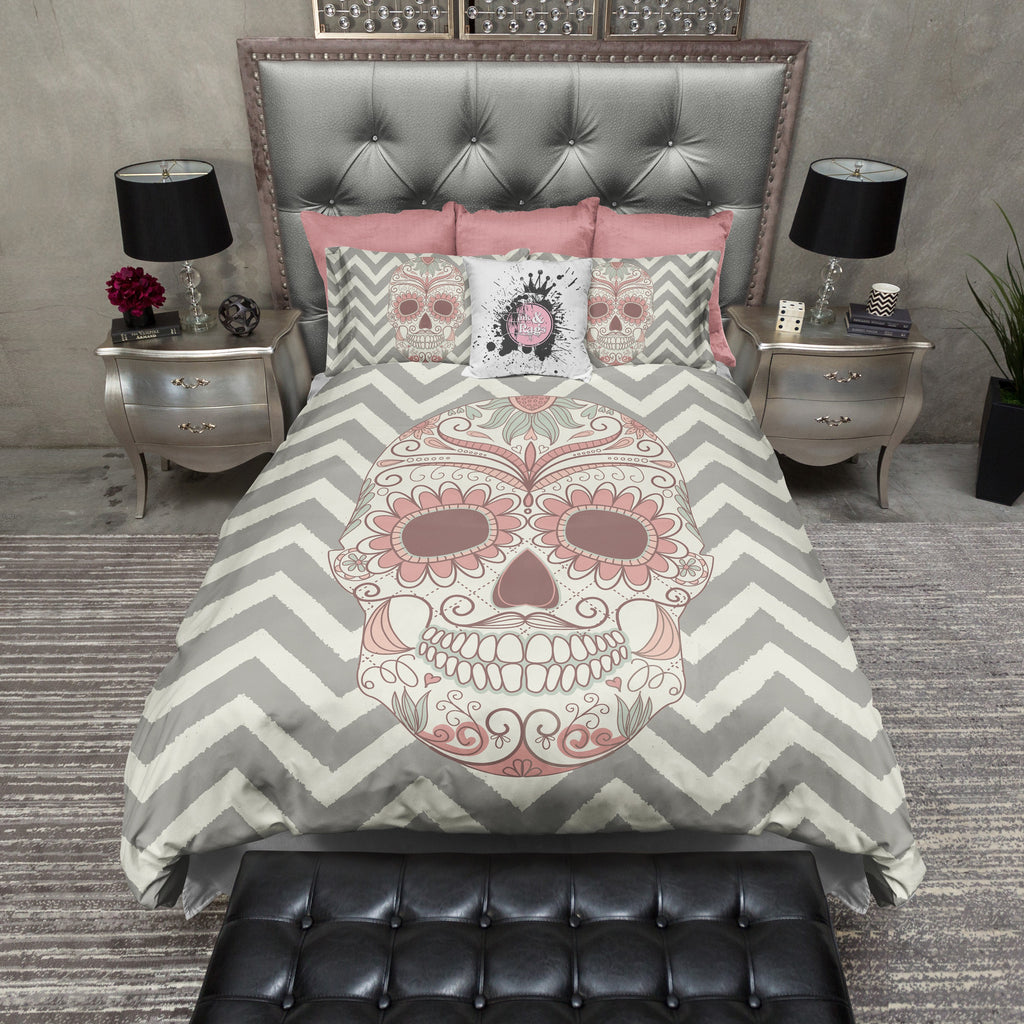 Chevron Stripe Sugar Skull Bedding CREAM