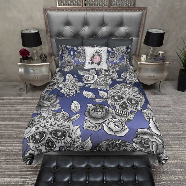 Signature Blue Ombre Sugar Skull And Rose Duvet Bedding