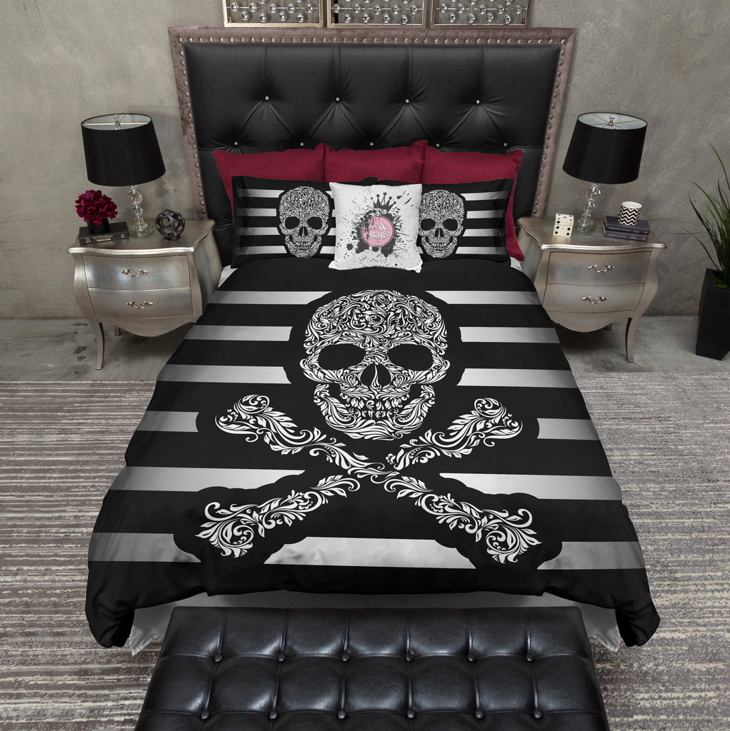 Black and White Stripe Skull and Crossbones Bedding
