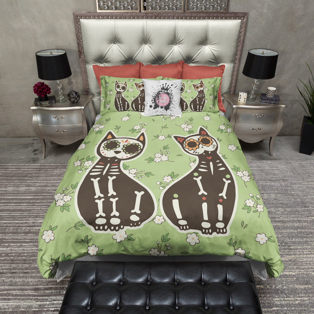 Sugar Skull Cat Duvet Bedding Sets