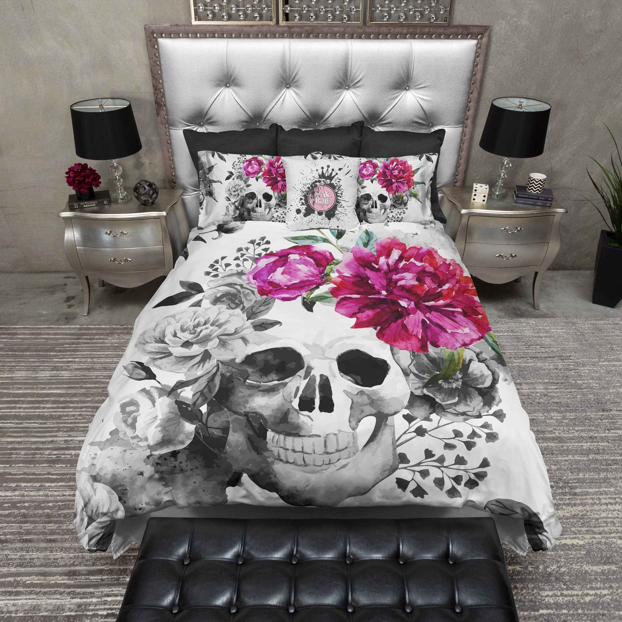 Fresh Black and White Pink Flower Watercolor Skull Bedding - Ink and Rags VO38