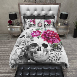 Black and White Pink Flower Watercolor Skull Bedding