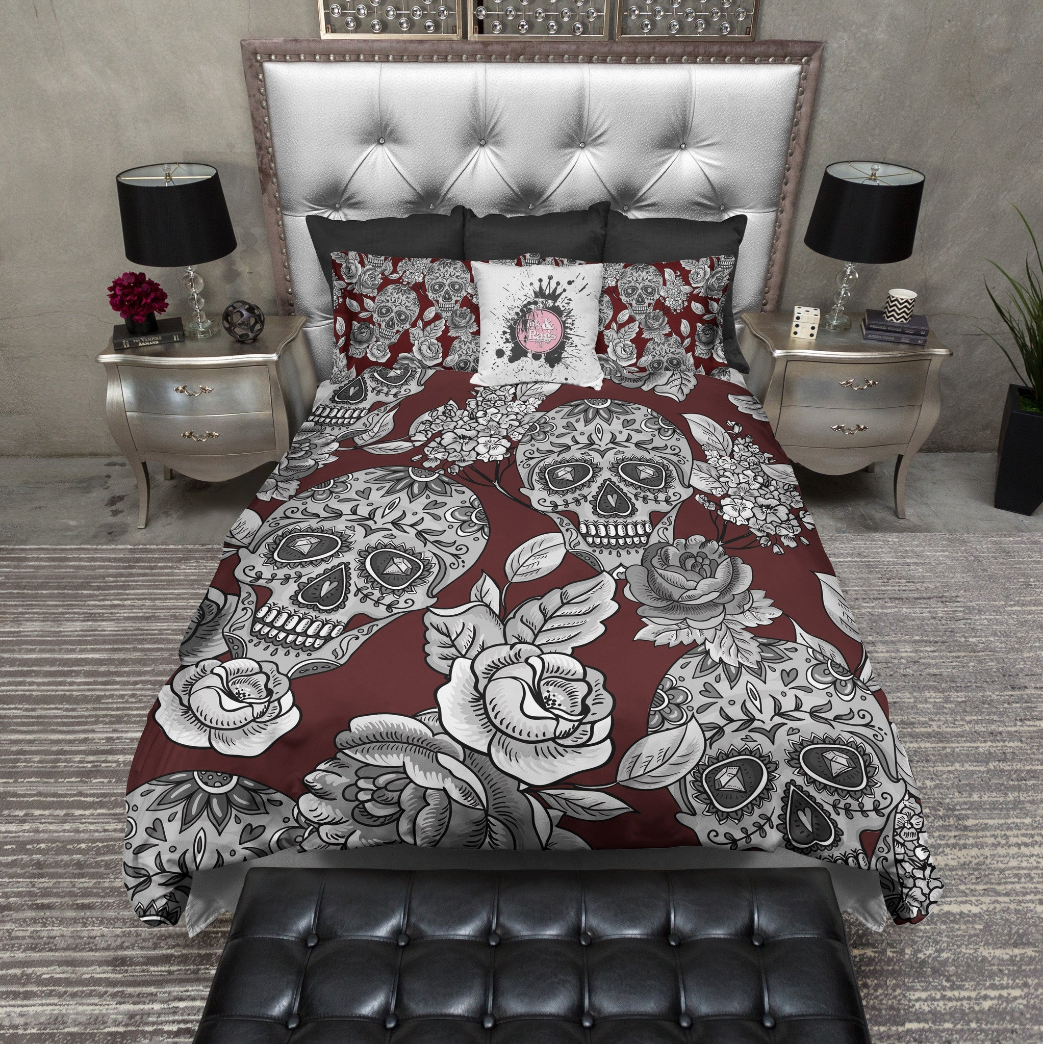 Signature Oxblood Red Sugar Skull And Rose Bedding Ink
