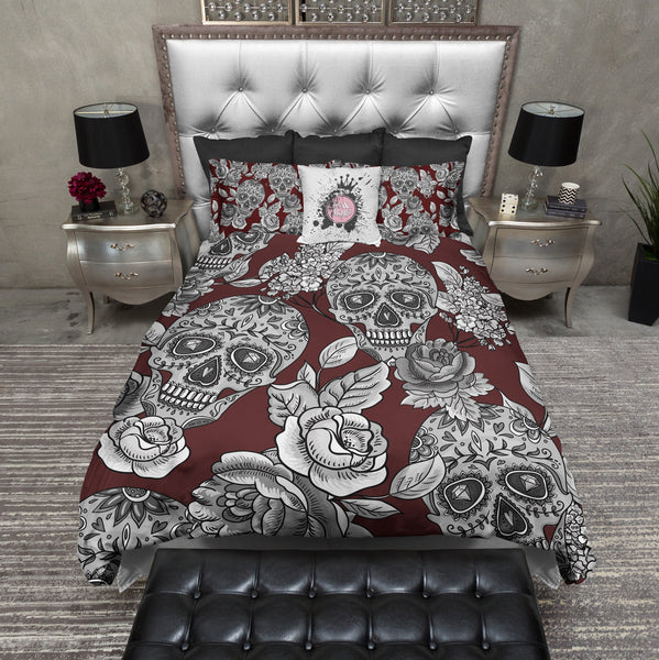 Signature Oxblood Red Sugar Skull And Rose Bedding Ink And Rags