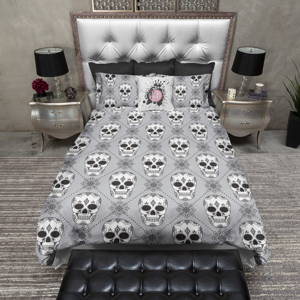 Grey Diamond Sugar Skull Bedding Collection