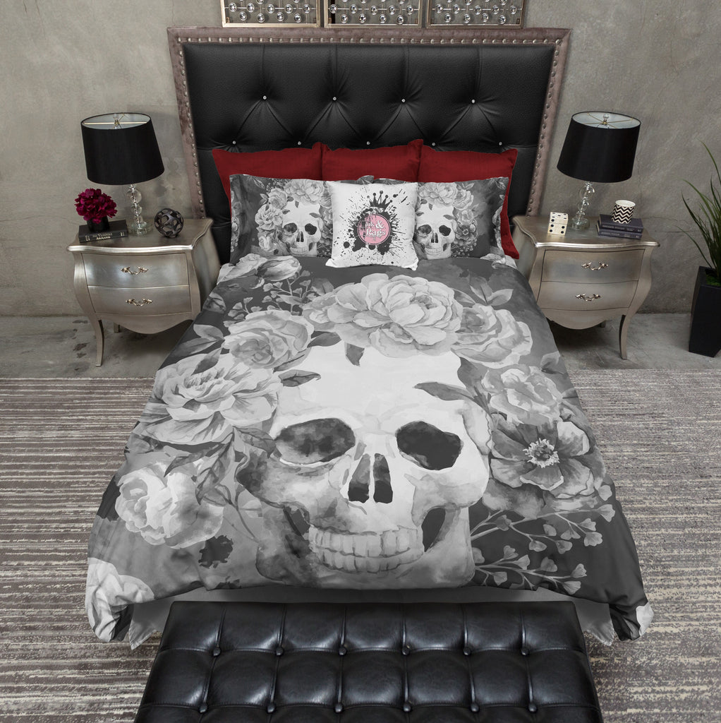 Shades of Grey Watercolor Skull Duvet Bedding Sets