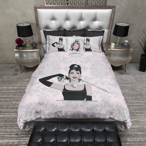 Pink Damask Audrey Breakfast at Tiffany's Moon River Style Fashion Bedding