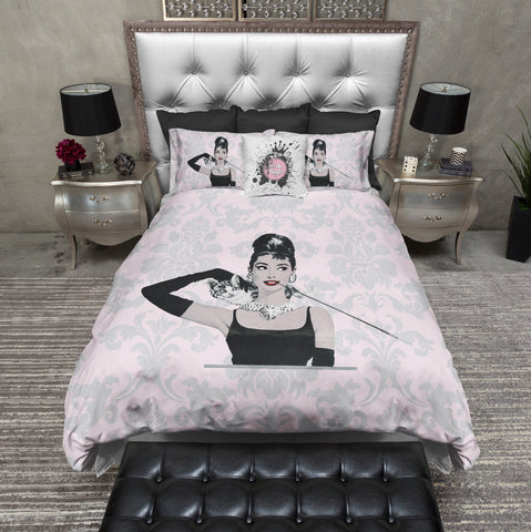 Pink Damask Breakfast at Tiffany's News Print Style Duvet Bedding Sets