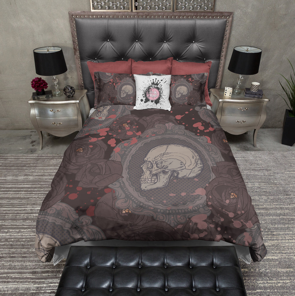 Dark Rose Cameo Skull Bedding