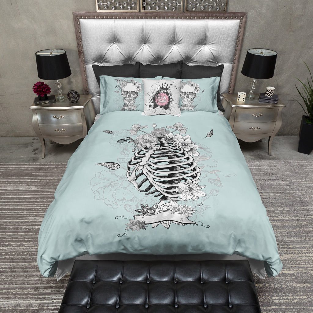 Ice Blue Floral Torso Skeleton Skull Duvet Bedding Sets